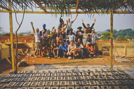 Students of Rising Education at the construction site