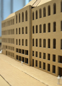 1:200 scale model of the building illustrates its internal complexity
